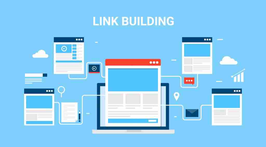 Flat Concept Of Link Building Seo Marketing And Digital Marketing